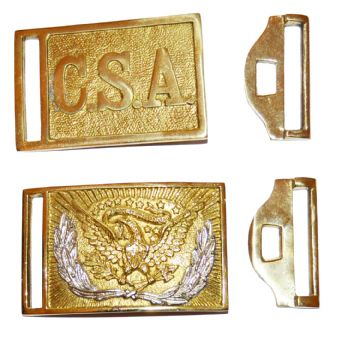 Union And Confederate Brass  Buckles